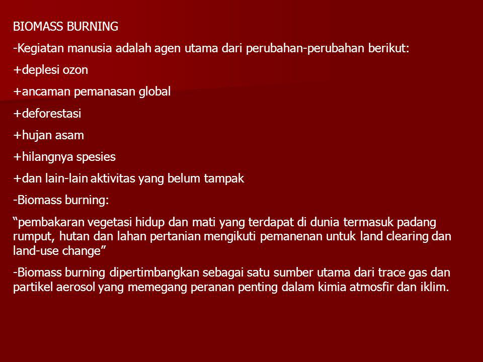 BIOMASS BURNING -Kegiatan manusia adalah agen utama dari perubahan-perubahan berikut: +deplesi ozon +ancaman pemanasan global +deforestasi +hujan asam