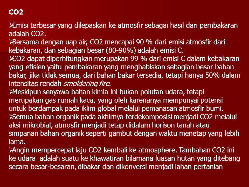 CO2  Emisi terbesar yang dilepaskan ke atmosfir sebagai hasil dari pembakaran adalah CO2.  Bersama dengan uap air, CO2 mencapai 90 % dari emisi atmo