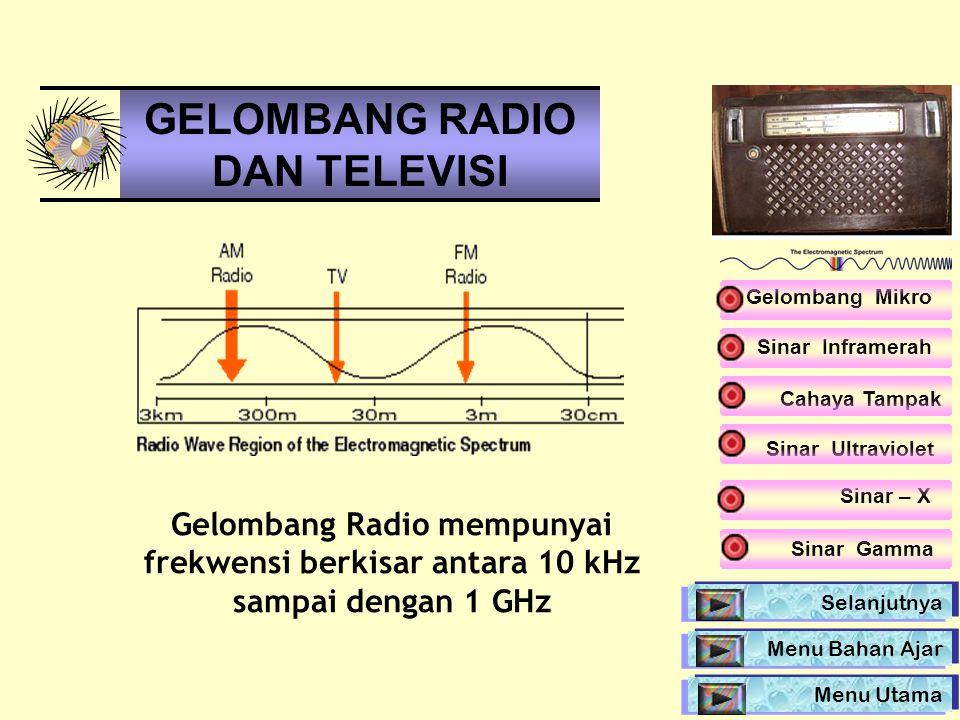 Gelombang Radio mempunyai frekwensi berkisar antara 10 kHz sampai dengan 1 GHz GELOMBANG RADIO DAN TELEVISI Sinar Inframerah Sinar Ultraviolet Sinar –