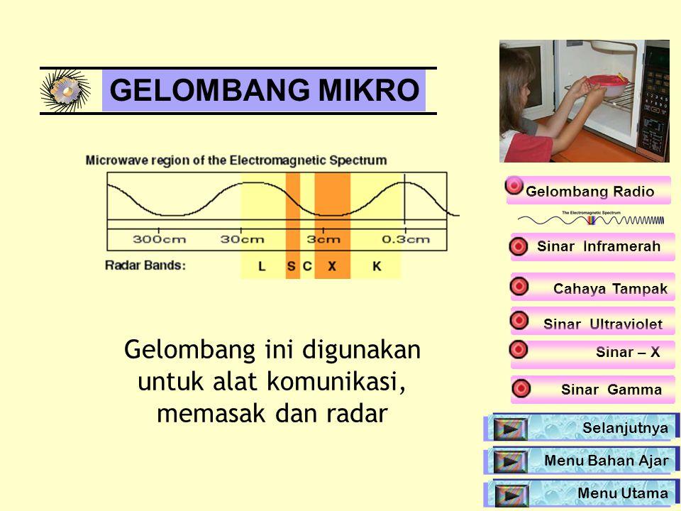 GELOMBANG MIKRO Gelombang ini digunakan untuk alat komunikasi, memasak dan radar Gelombang Radio Selanjutnya Sinar Inframerah Sinar Ultraviolet Sinar