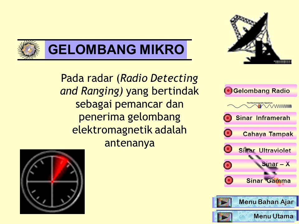 Pada radar (Radio Detecting and Ranging) yang bertindak sebagai pemancar dan penerima gelombang elektromagnetik adalah antenanya Gelombang Radio GELOM