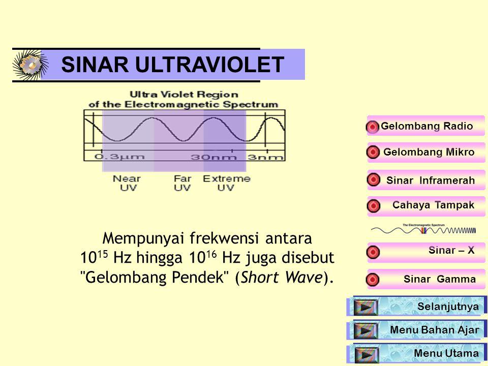 Cahaya Tampak SINAR ULTRAVIOLET Mempunyai frekwensi antara 10 15 Hz hingga 10 16 Hz juga disebut