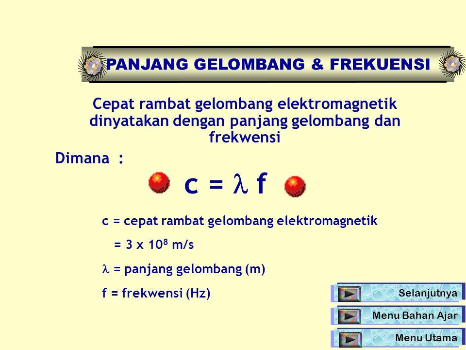 Cepat rambat gelombang elektromagnetik dinyatakan dengan panjang gelombang dan frekwensi Dimana : c = f c = cepat rambat gelombang elektromagnetik = 3