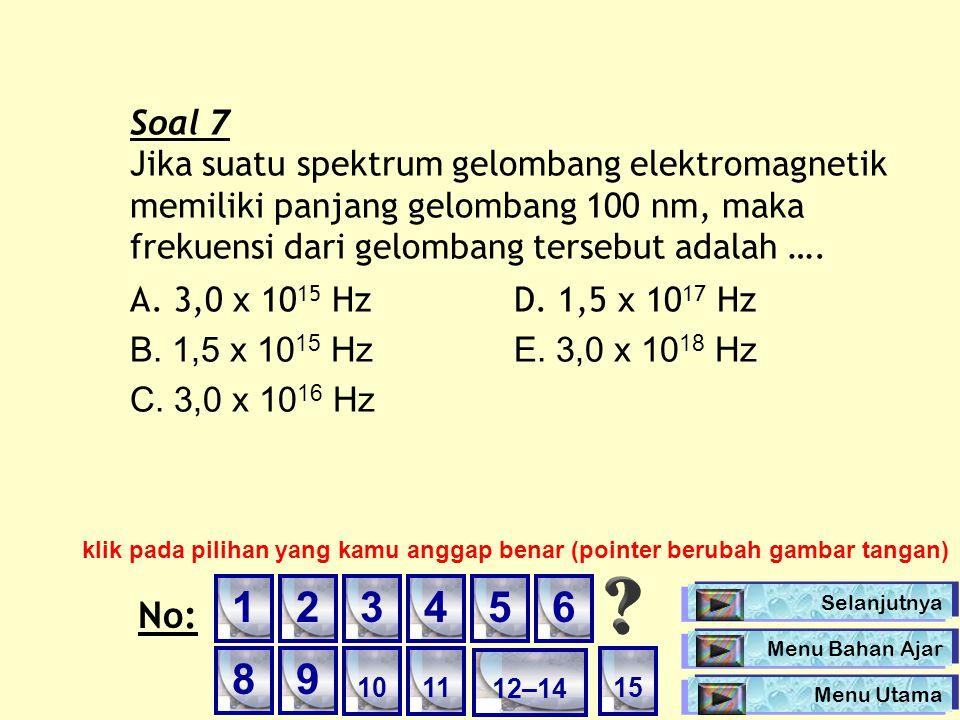 Soal 7 Jika suatu spektrum gelombang elektromagnetik memiliki panjang gelombang 100 nm, maka frekuensi dari gelombang tersebut adalah …. A. 3,0 x 10 1