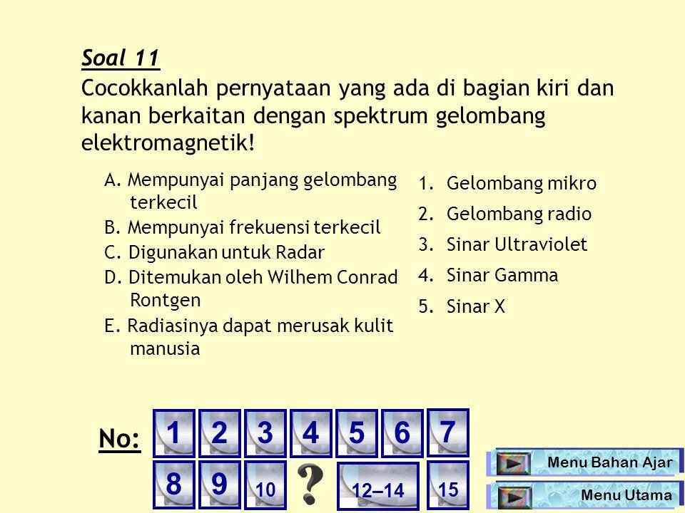 Soal 11 Cocokkanlah pernyataan yang ada di bagian kiri dan kanan berkaitan dengan spektrum gelombang elektromagnetik! A. Mempunyai panjang gelombang t