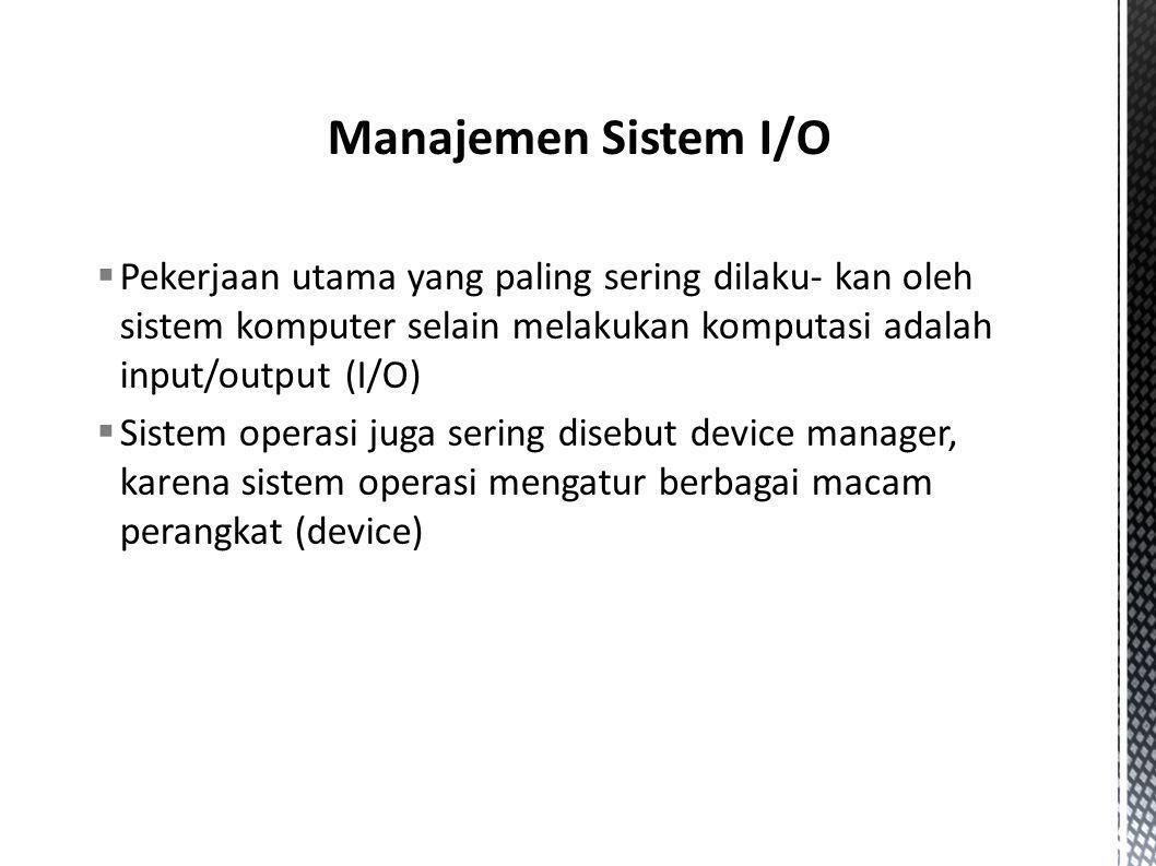  Pekerjaan utama yang paling sering dilaku- kan oleh sistem komputer selain melakukan komputasi adalah input/output (I/O)  Sistem operasi juga serin