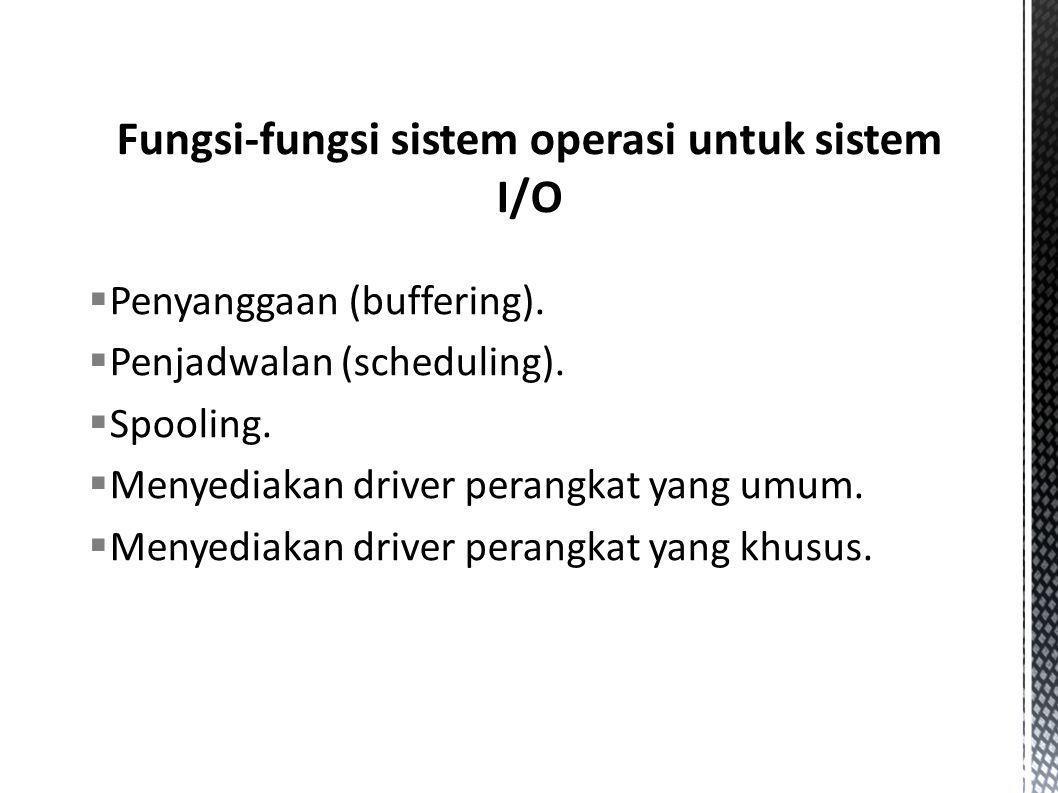  Penyanggaan (buffering).  Penjadwalan (scheduling).  Spooling.  Menyediakan driver perangkat yang umum.  Menyediakan driver perangkat yang khusu