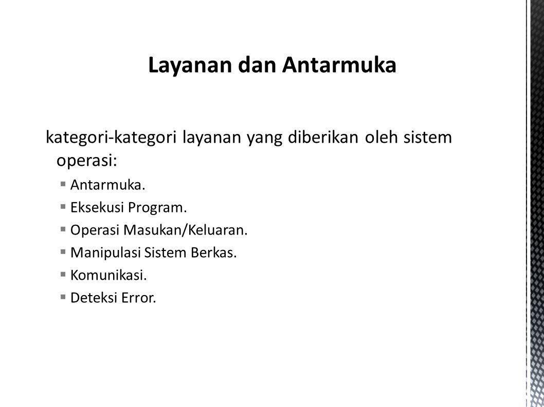 kategori-kategori layanan yang diberikan oleh sistem operasi:  Antarmuka.  Eksekusi Program.  Operasi Masukan/Keluaran.  Manipulasi Sistem Berkas.