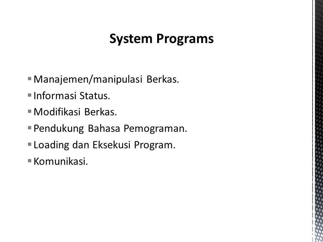  Manajemen/manipulasi Berkas.  Informasi Status.  Modifikasi Berkas.  Pendukung Bahasa Pemograman.  Loading dan Eksekusi Program.  Komunikasi.
