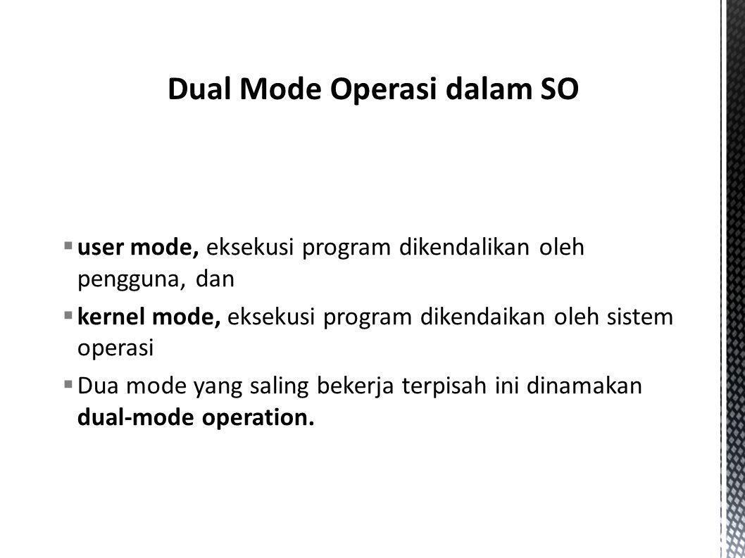  user mode, eksekusi program dikendalikan oleh pengguna, dan  kernel mode, eksekusi program dikendaikan oleh sistem operasi  Dua mode yang saling b