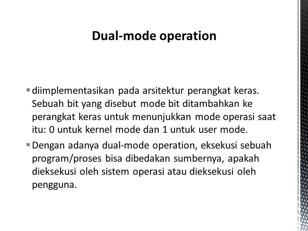  diimplementasikan pada arsitektur perangkat keras. Sebuah bit yang disebut mode bit ditambahkan ke perangkat keras untuk menunjukkan mode operasi sa