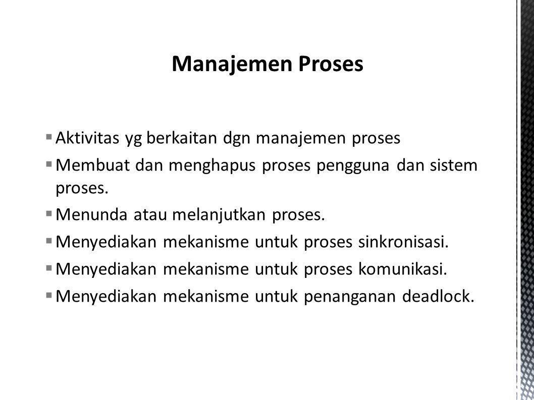 Aktivitas yg berkaitan dgn manajemen proses  Membuat dan menghapus proses pengguna dan sistem proses.  Menunda atau melanjutkan proses.  Menyedia