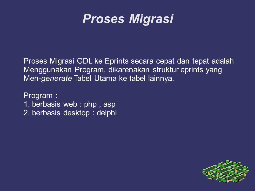 Proses Migrasi Proses Migrasi GDL ke Eprints secara cepat dan tepat adalah Menggunakan Program, dikarenakan struktur eprints yang Men-generate Tabel U