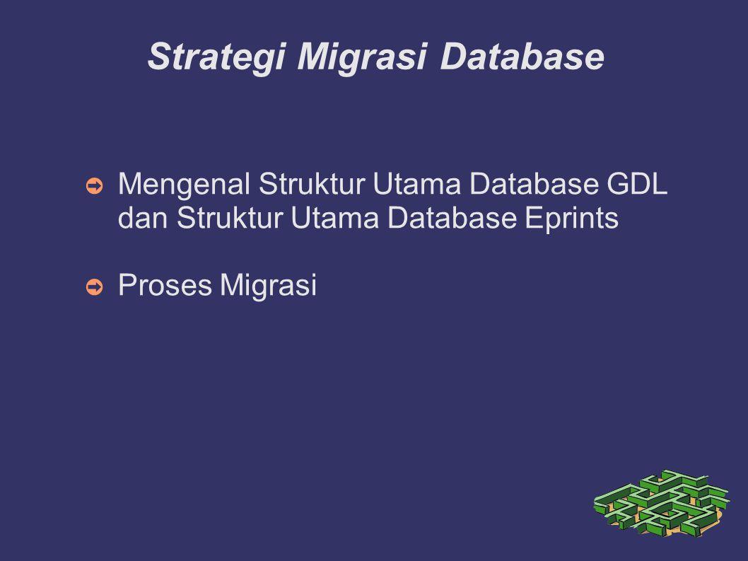 Strategi Migrasi Database ➲ Mengenal Struktur Utama Database GDL dan Struktur Utama Database Eprints ➲ Proses Migrasi