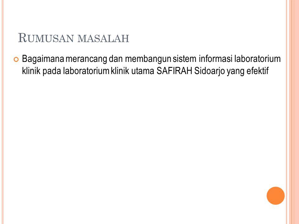 B ATASAN MASALAH 1.Data yang digunakan adalah data yang real dari Laboratorium Klinik Safirah.