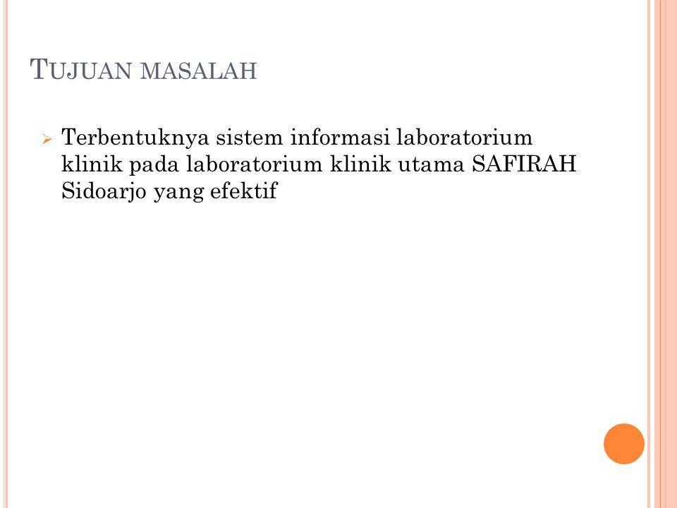 T UJUAN MASALAH  Terbentuknya sistem informasi laboratorium klinik pada laboratorium klinik utama SAFIRAH Sidoarjo yang efektif