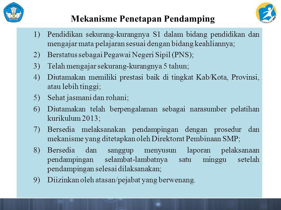 Mekanisme Penetapan Kluster Pendampingan 1.Dinas Pendidikan dan Kebudayaan Kabupaten/Kota mendata semua SMP di wilayahnya; 2.Dinas Pendidikan dan Kebudayaan Kabupaten/Kota memetakan SMP berdasarkan letak geografis dan/atau waktu tempuh.