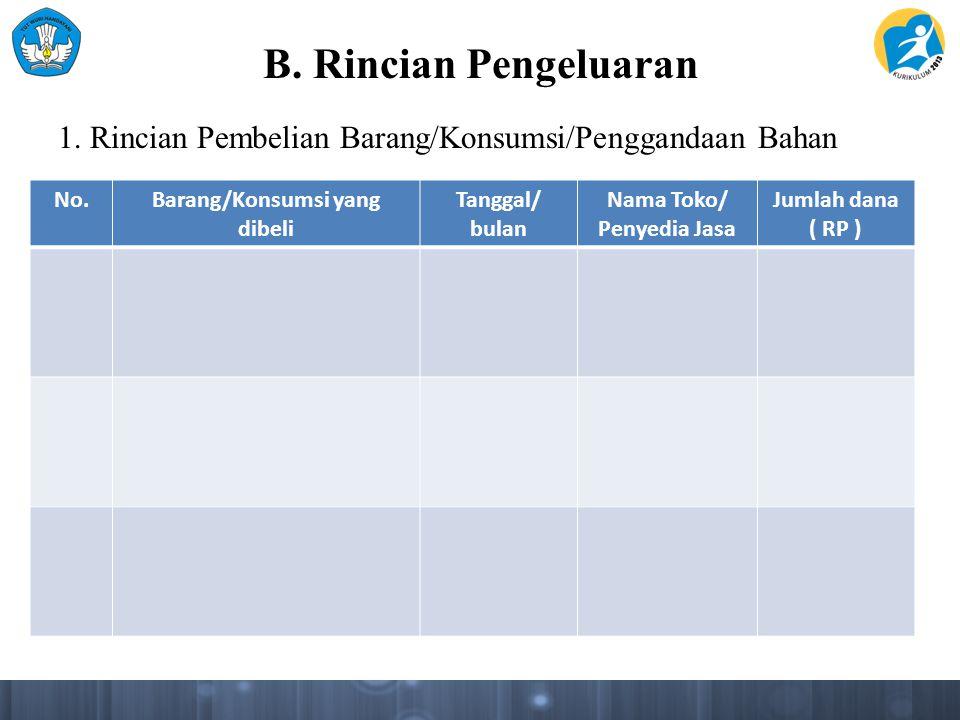 B. Rincian Pengeluaran 1. Rincian Pembelian Barang/Konsumsi/Penggandaan Bahan No.Barang/Konsumsi yang dibeli Tanggal/ bulan Nama Toko/ Penyedia Jasa J