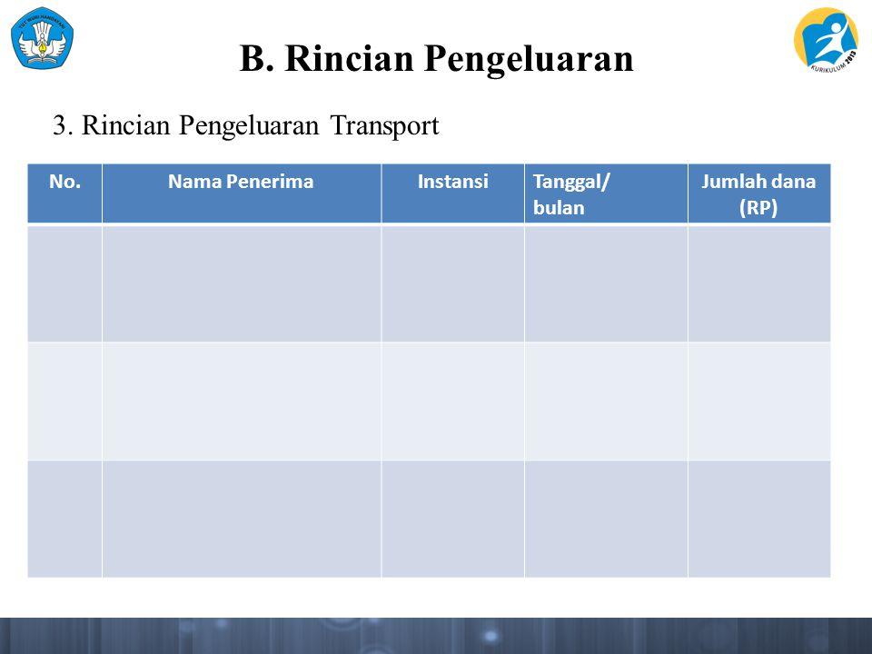 B. Rincian Pengeluaran 3. Rincian Pengeluaran Transport No.Nama PenerimaInstansiTanggal/ bulan Jumlah dana (RP)