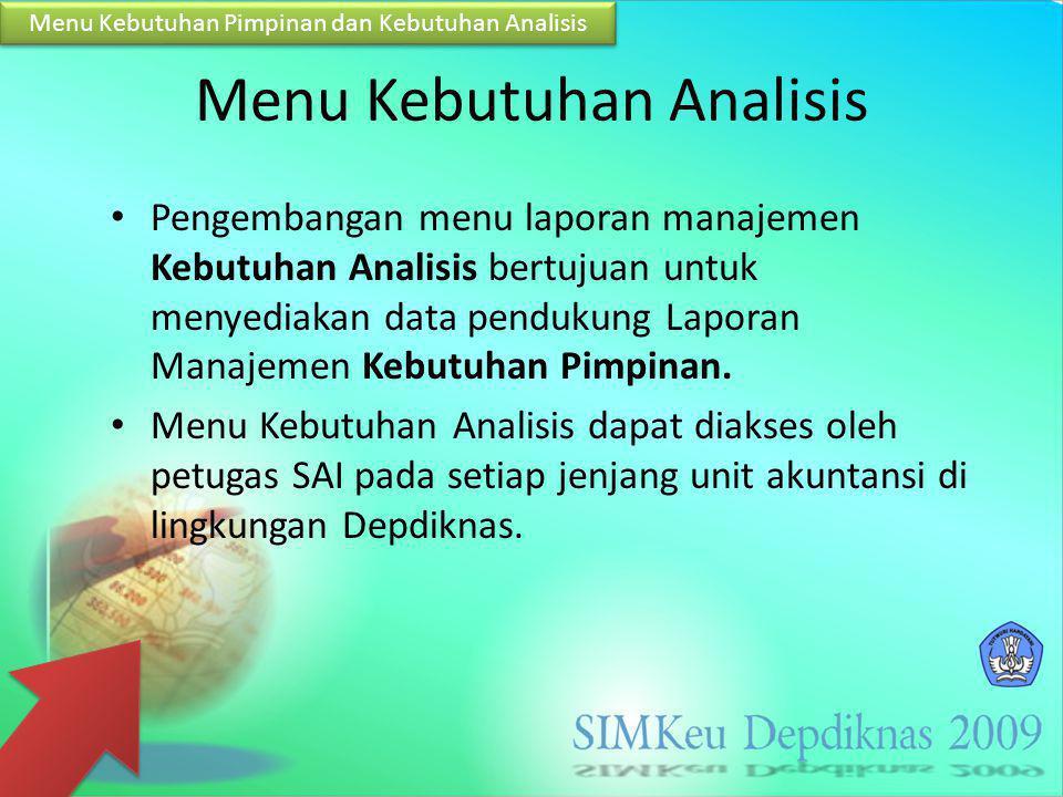 Menu Kebutuhan Analisis Pengembangan menu laporan manajemen Kebutuhan Analisis bertujuan untuk menyediakan data pendukung Laporan Manajemen Kebutuhan