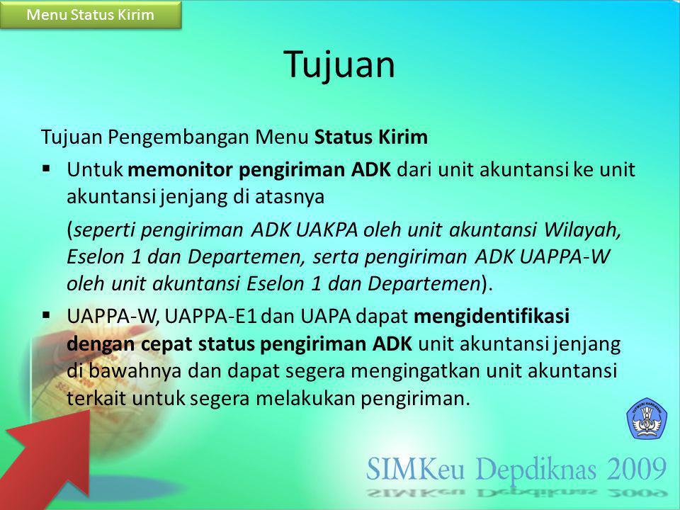 Tujuan Tujuan Pengembangan Menu Status Kirim  Untuk memonitor pengiriman ADK dari unit akuntansi ke unit akuntansi jenjang di atasnya (seperti pengir
