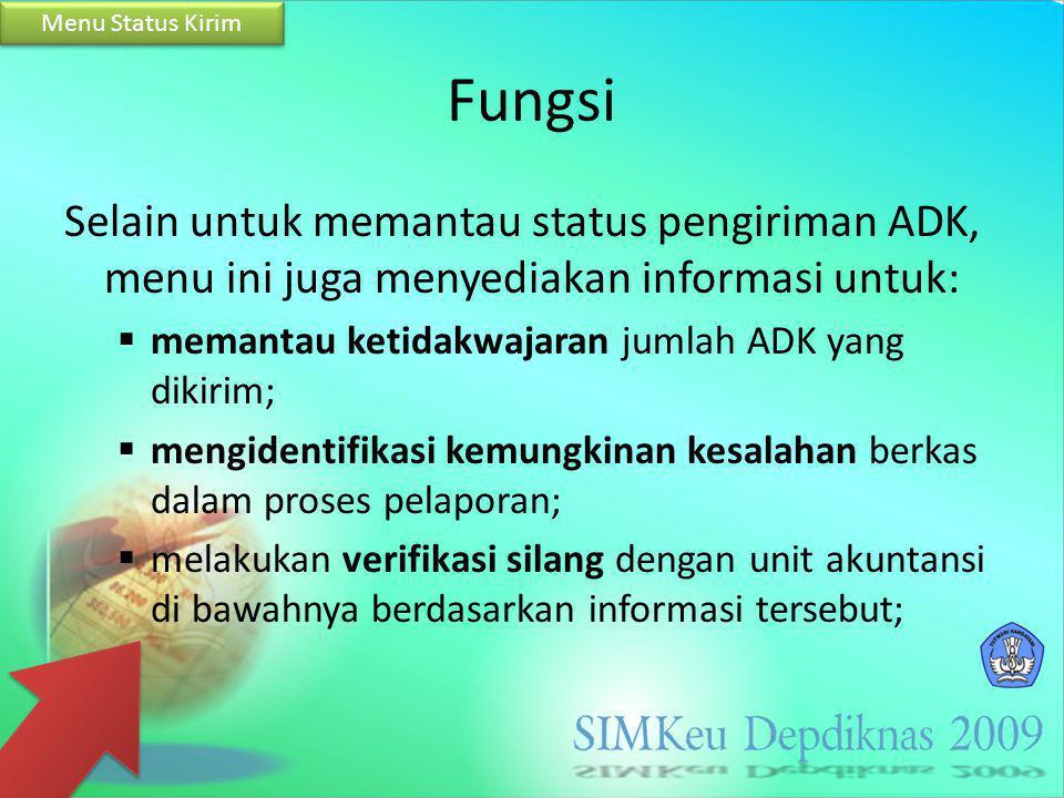 Fungsi Selain untuk memantau status pengiriman ADK, menu ini juga menyediakan informasi untuk:  memantau ketidakwajaran jumlah ADK yang dikirim;  me