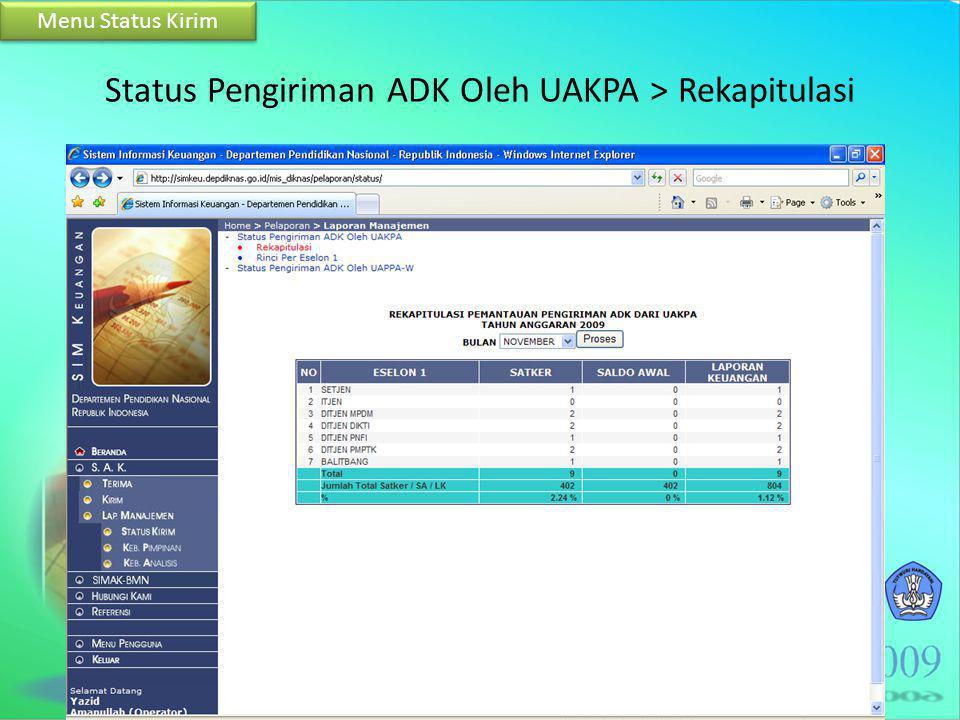 Status Pengiriman ADK Oleh UAKPA > Rekapitulasi Menu Status Kirim