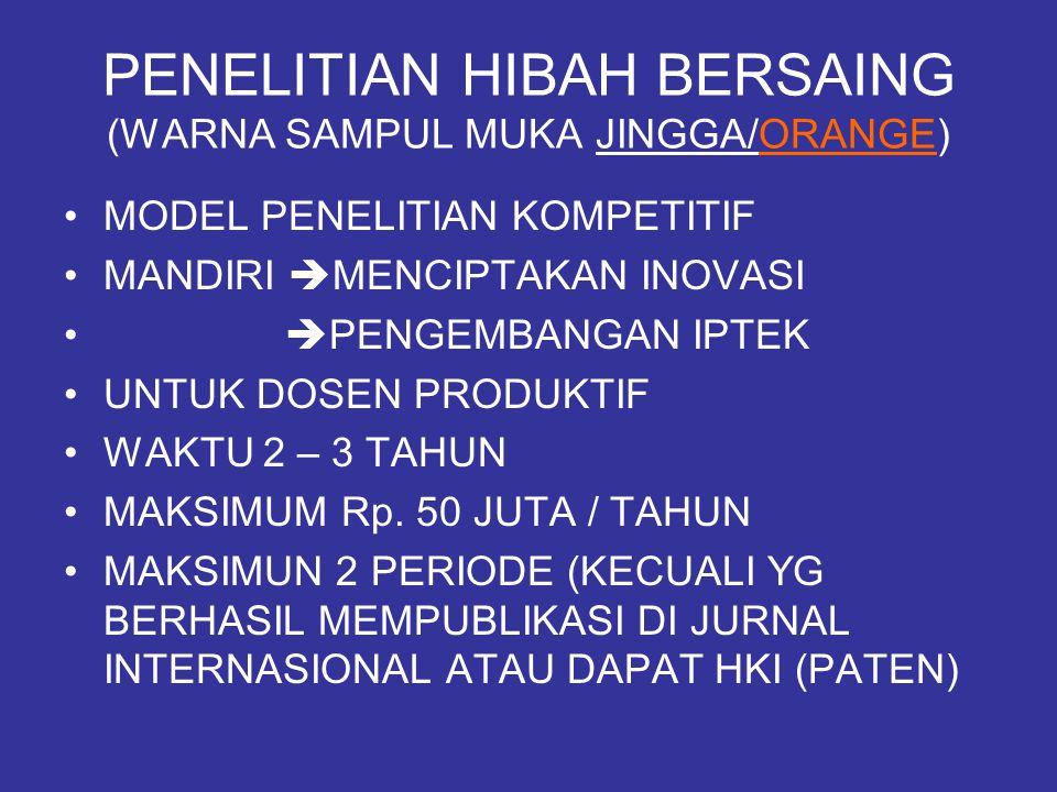PENELITIAN HIBAH BERSAING (WARNA SAMPUL MUKA JINGGA/ORANGE) MODEL PENELITIAN KOMPETITIF MANDIRI  MENCIPTAKAN INOVASI  PENGEMBANGAN IPTEK UNTUK DOSEN