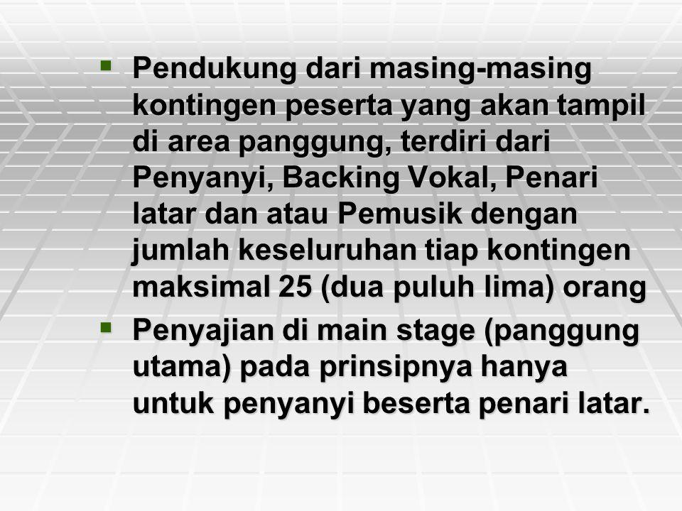PPPPendukung dari masing-masing kontingen peserta yang akan tampil di area panggung, terdiri dari Penyanyi, Backing Vokal, Penari latar dan atau P
