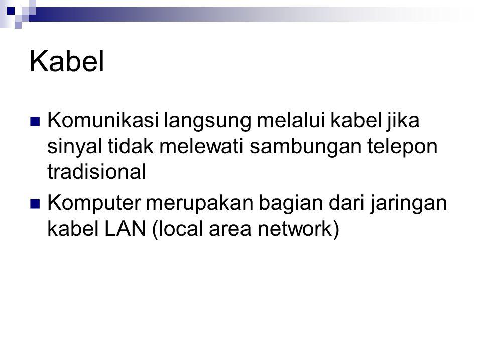 Kabel Komunikasi langsung melalui kabel jika sinyal tidak melewati sambungan telepon tradisional Komputer merupakan bagian dari jaringan kabel LAN (lo
