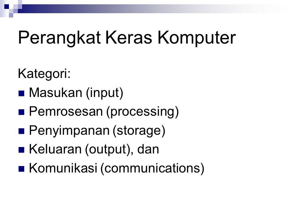 Perangkat Keras Komputer Kategori: Masukan (input) Pemrosesan (processing) Penyimpanan (storage) Keluaran (output), dan Komunikasi (communications)