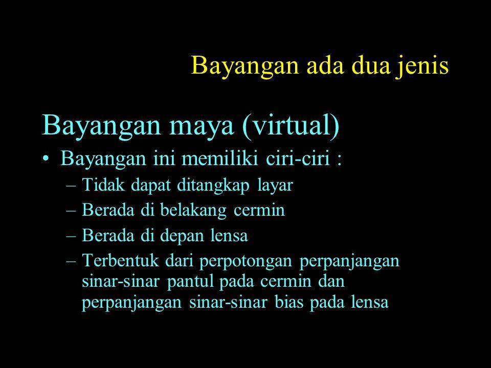 Bayangan ada dua jenis Bayangan maya (virtual) Bayangan ini memiliki ciri-ciri : –Tidak dapat ditangkap layar –Berada di belakang cermin –Berada di depan lensa –Terbentuk dari perpotongan perpanjangan sinar-sinar pantul pada cermin dan perpanjangan sinar-sinar bias pada lensa
