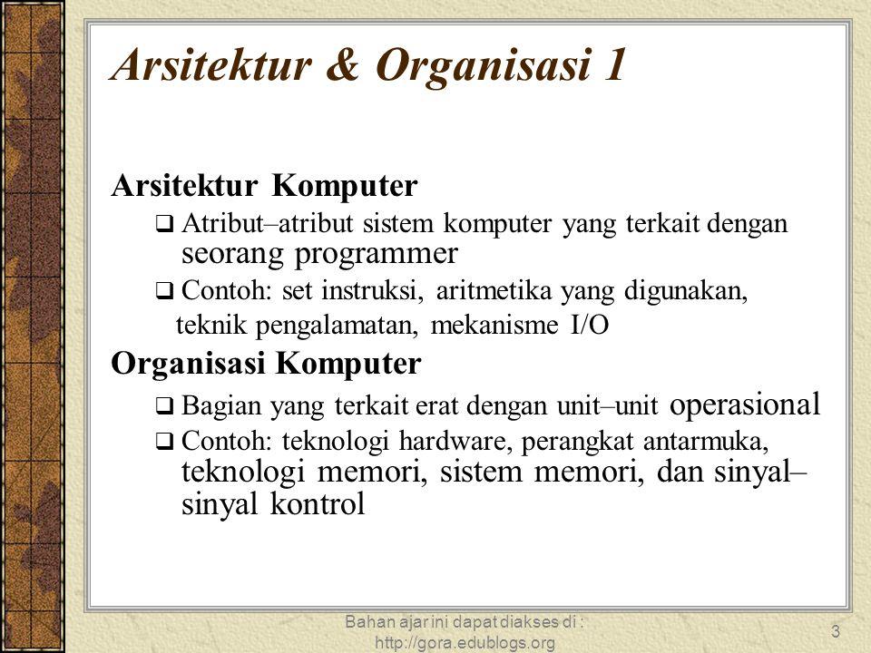 Bahan ajar ini dapat diakses di : http://gora.edublogs.org 4 Arsitektur & Organisasi 1  Semua Keluarga Intel x86 mempunyai arsitektur dasar yang sama  Sistem IBM System/Keluarga 370 mempunyai arsitektur dasar yang sama  Memberikan compatibilitas instruksi level  At least backwards  Mesin organisasi antar versi memiliki perbedaan