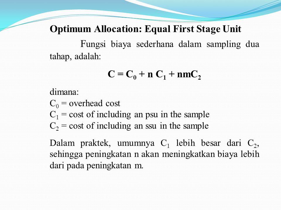 Optimum Allocation: Equal First Stage Unit F ungsi biaya sederhana dalam sampling dua tahap, adalah: C = C 0 + n C 1 + nmC 2 dimana: C 0 = overhead cost C 1 = cost of including an psu in the sample C 2 = cost of including an ssu in the sample Dalam praktek, umumnya C 1 lebih besar dari C 2, sehingga peningkatan n akan meningkatkan biaya lebih dari pada peningkatan m.