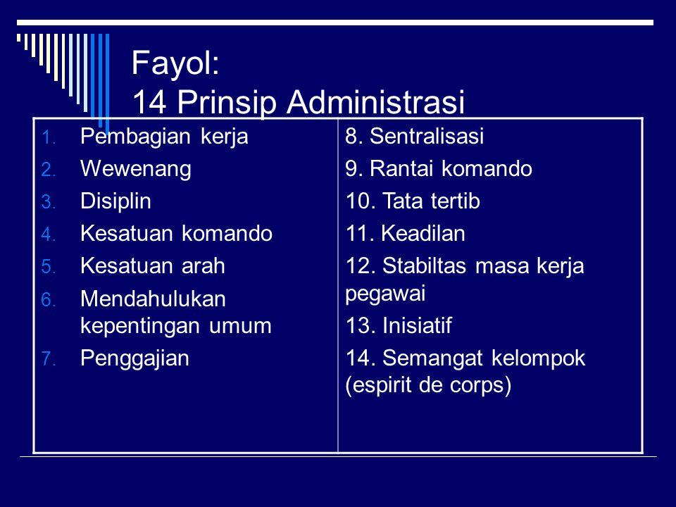 Fayol: 14 Prinsip Administrasi 1. Pembagian kerja 2. Wewenang 3. Disiplin 4. Kesatuan komando 5. Kesatuan arah 6. Mendahulukan kepentingan umum 7. Pen