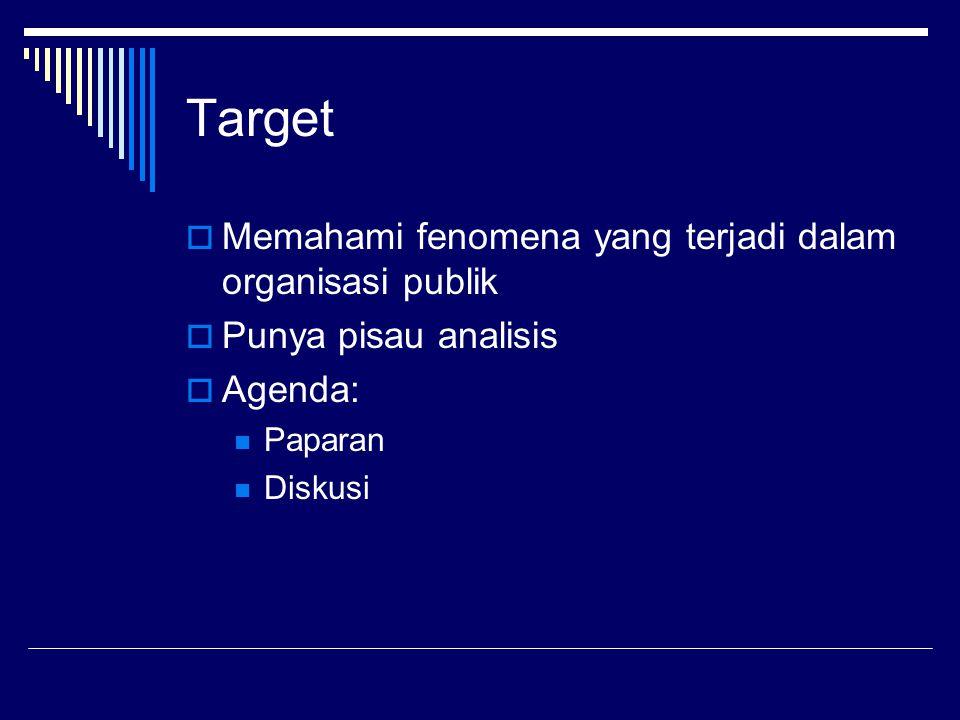 Target  Memahami fenomena yang terjadi dalam organisasi publik  Punya pisau analisis  Agenda: Paparan Diskusi