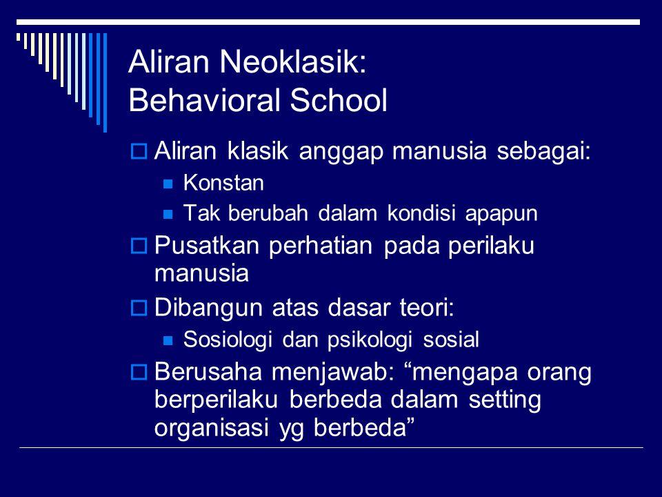 Aliran Neoklasik: Behavioral School  Aliran klasik anggap manusia sebagai: Konstan Tak berubah dalam kondisi apapun  Pusatkan perhatian pada perilak