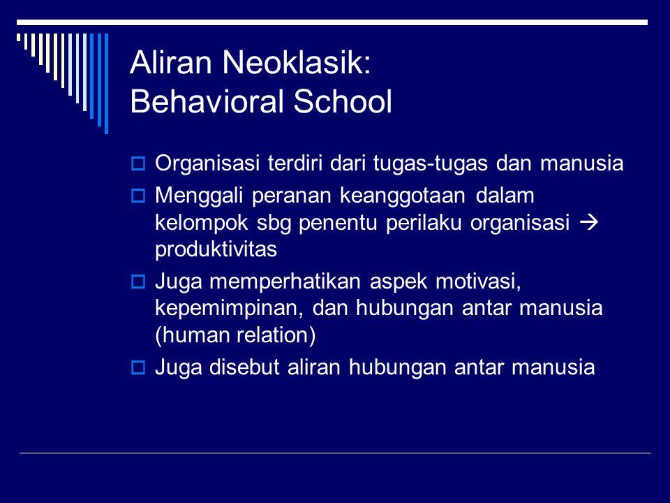 Aliran Neoklasik: Behavioral School  Organisasi terdiri dari tugas-tugas dan manusia  Menggali peranan keanggotaan dalam kelompok sbg penentu perila