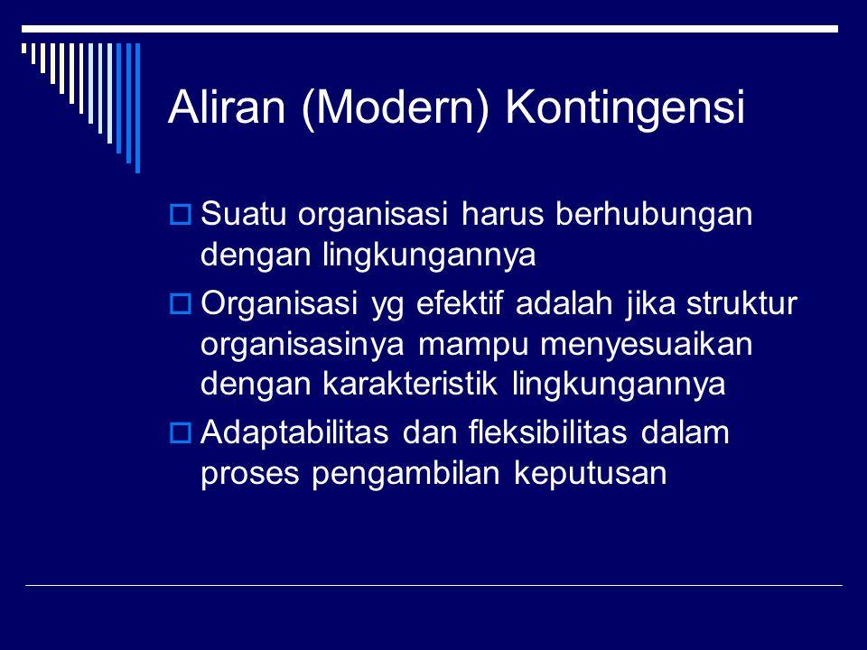Aliran (Modern) Kontingensi  Suatu organisasi harus berhubungan dengan lingkungannya  Organisasi yg efektif adalah jika struktur organisasinya mampu