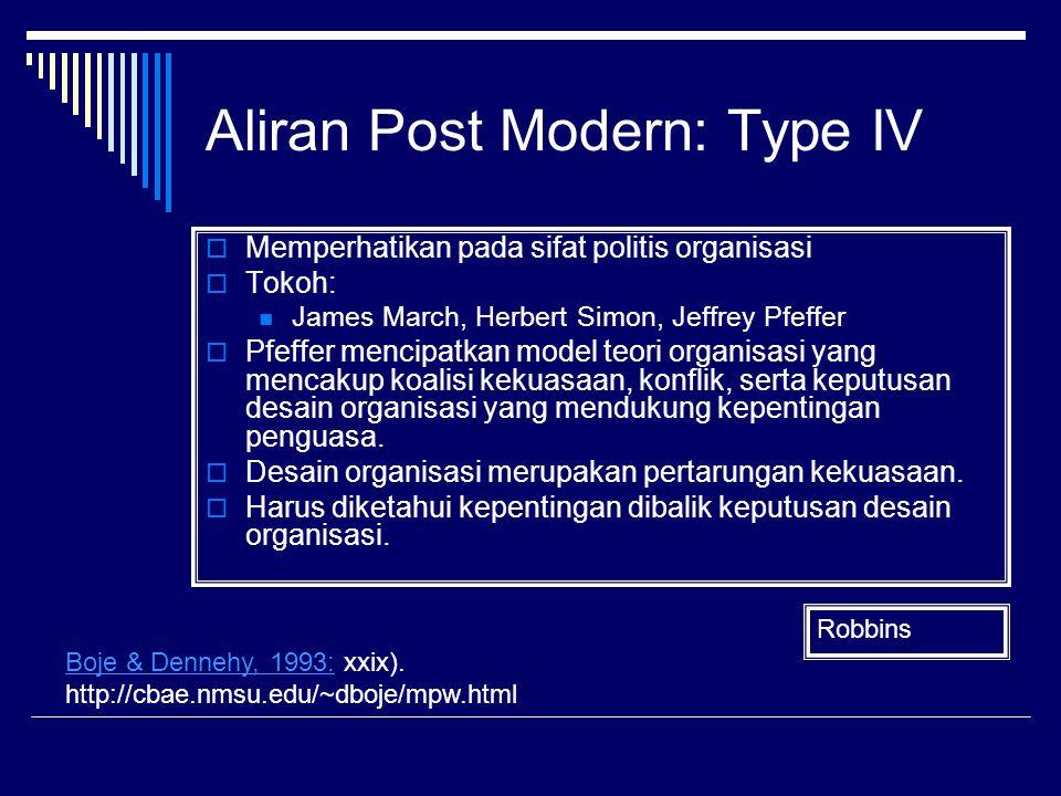 Aliran Post Modern: Type IV  Memperhatikan pada sifat politis organisasi  Tokoh: James March, Herbert Simon, Jeffrey Pfeffer  Pfeffer mencipatkan m