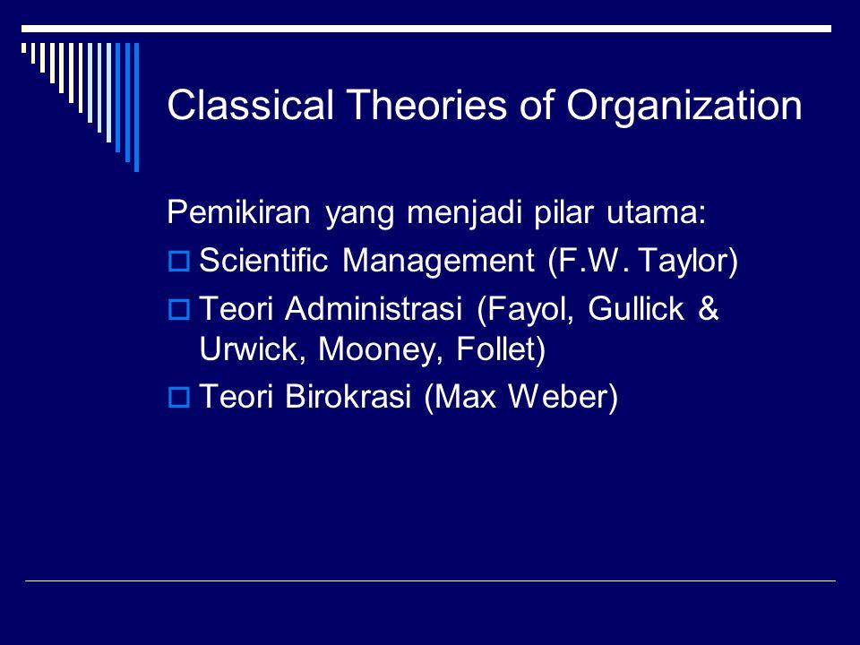 Classical Theories of Organization Pemikiran yang menjadi pilar utama:  Scientific Management (F.W. Taylor)  Teori Administrasi (Fayol, Gullick & Ur