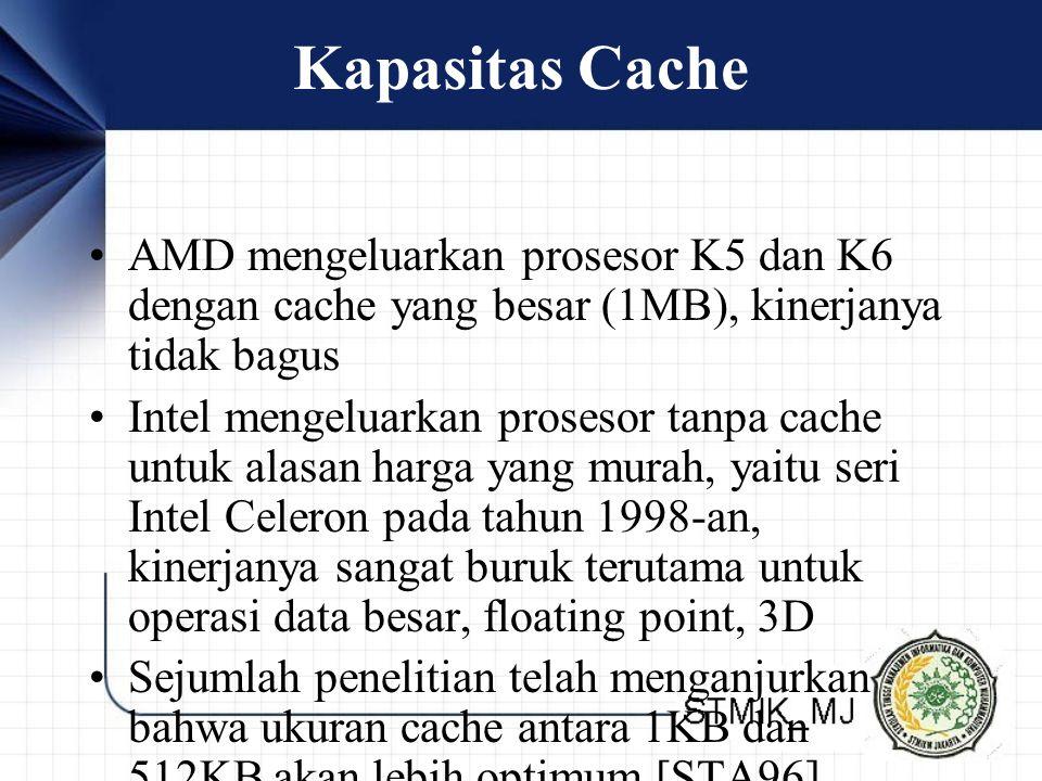 Kapasitas Cache AMD mengeluarkan prosesor K5 dan K6 dengan cache yang besar (1MB), kinerjanya tidak bagus Intel mengeluarkan prosesor tanpa cache untu