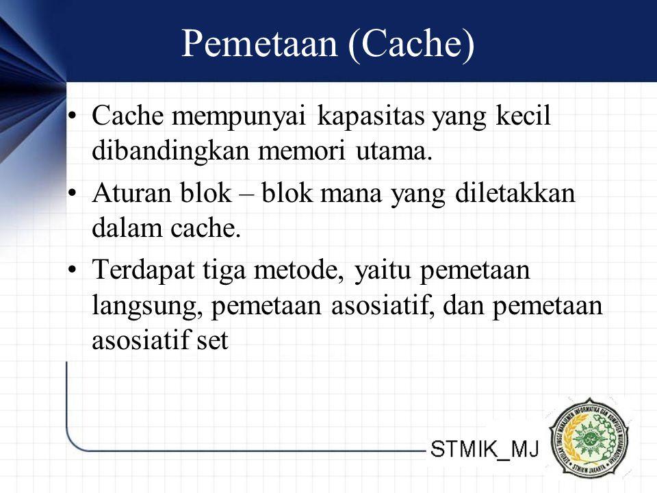 Pemetaan (Cache) Cache mempunyai kapasitas yang kecil dibandingkan memori utama. Aturan blok – blok mana yang diletakkan dalam cache. Terdapat tiga me