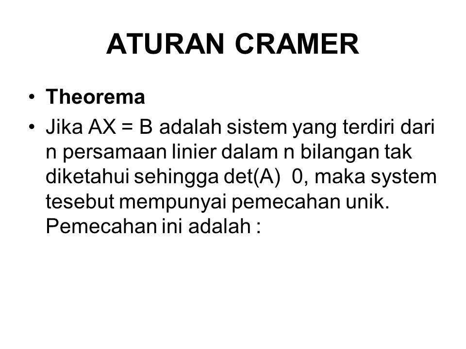 ATURAN CRAMER Theorema Jika AX = B adalah sistem yang terdiri dari n persamaan linier dalam n bilangan tak diketahui sehingga det(A) 0, maka system te