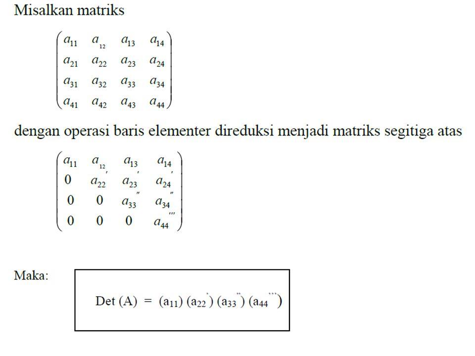 » A3 = [ 1 -1 -1;0 2 7; 2 -1 3] A3 = 1 -1 -1 0 2 7 2 -1 3 » det(A3) ans = 3