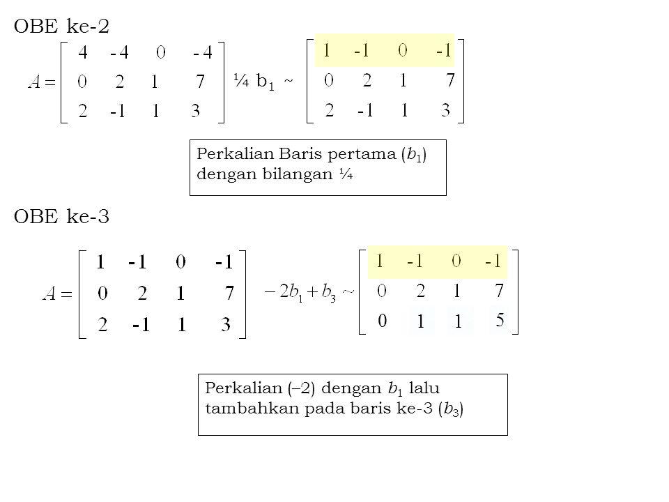 Beberapa definisi yang perlu diketahui : –Baris pertama dan ke-2 dinamakan baris tak nol, karena pada kedua baris tersebut memuat unsur tak nol.