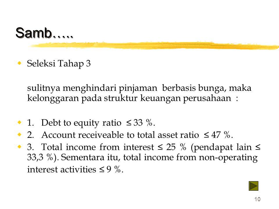 10 Samb…..  Seleksi Tahap 3 sulitnya menghindari pinjaman berbasis bunga, maka kelonggaran pada struktur keuangan perusahaan :  1. Debt to equity ra