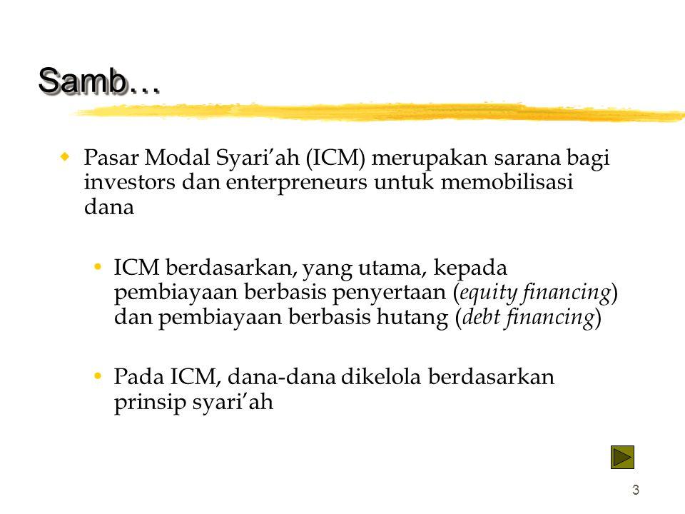 3 Samb Samb…  Pasar Modal Syari'ah (ICM) merupakan sarana bagi investors dan enterpreneurs untuk memobilisasi dana  ICM berdasarkan, yang utama, kep