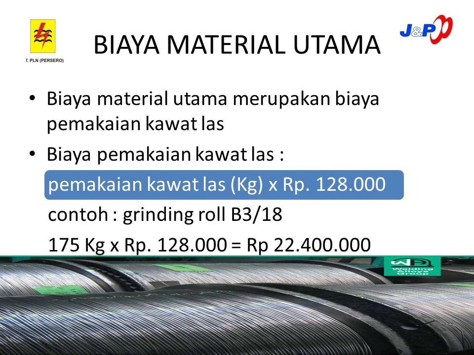 BIAYA MATERIAL UTAMA Biaya material utama merupakan biaya pemakaian kawat las Biaya pemakaian kawat las : pemakaian kawat las (Kg) x Rp.