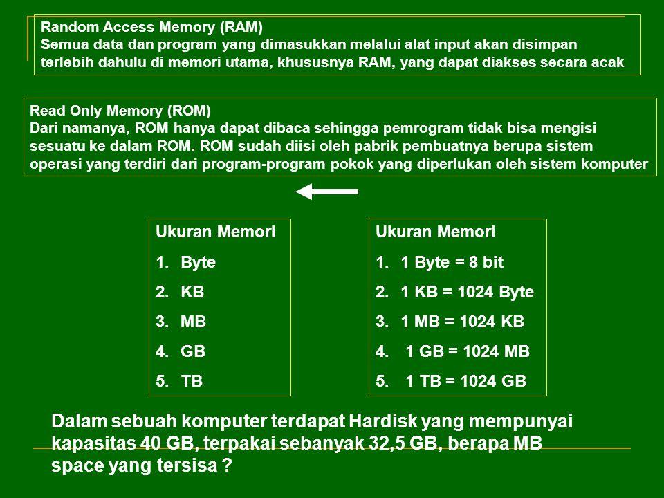 Ukuran Memori 1.Byte 2.KB 3.MB 4.GB 5.TB Ukuran Memori 1.1 Byte = 8 bit 2.1 KB = 1024 Byte 3.1 MB = 1024 KB 4. 1 GB = 1024 MB 5. 1 TB = 1024 GB Dalam